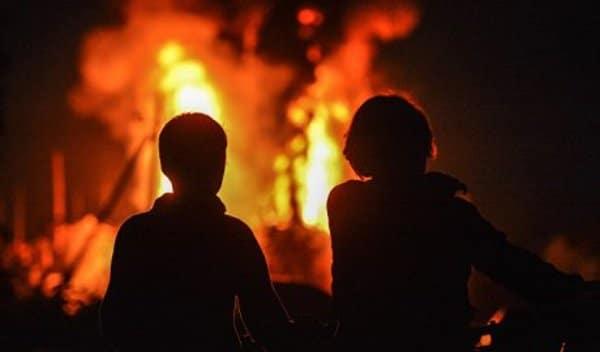 наблюдение за ярким огнем